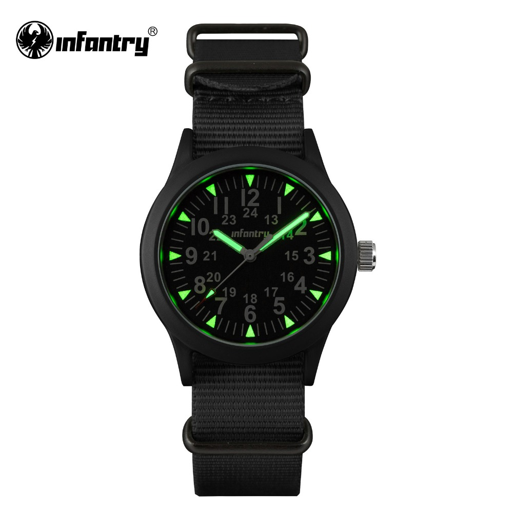 INFANTRY Mens Watches Luminous Hattori Japan Quartz Watch Relojes Nylon Watches G10 Heavy Nylon Military Army 30M Waterproof(Hong Kong)