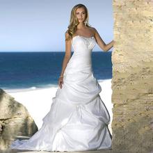 Alice Beach Style White Gowns Strapless Satin Pleat Long Wedding Bridal Dresses 2017 Best Price vestido de noiva(China (Mainland))