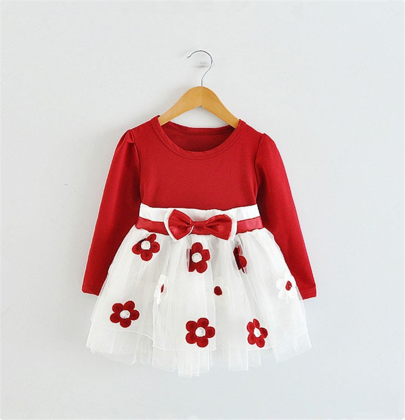 2016 Cute Baby Girl Patchwork Flower Bow Dress Children Kids Birthday Christening Dresses Long Sleeve Autumn Clothing Wear(China (Mainland))