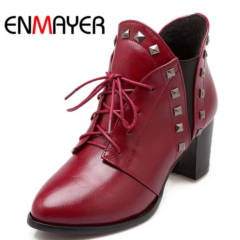 ENMAYER Winter Boots High Quality Keep Warm High Heels Ankle Boots Round Toe Fashion Boots For Women Rivet Martin Boots Sale<br><br>Aliexpress
