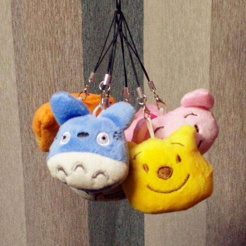 1PC 5cm Cute Soft Plush Pendant Kids Doll Stuffed And Plush Tiger/Totoro/Donkey/Poo Gift For Children Key Chain BL1147(China (Mainland))