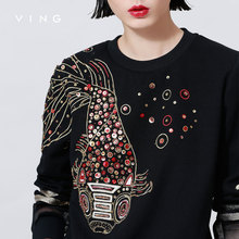 Ving 2015 Women O-neck Sequin Embroidery Sweatshirt Gauze Patchwork Fashion Long Sleeve Women Pullover(China (Mainland))