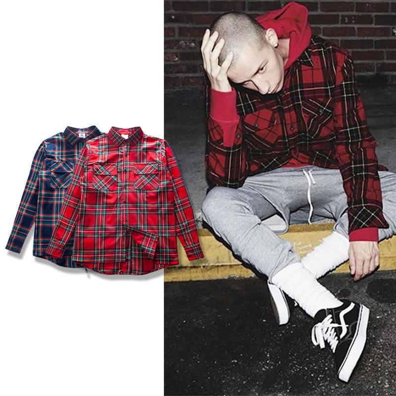 Streetwear Punk font b Tartan b font Brand Clothing Men Clothes Korean Extended Gray red Checkered