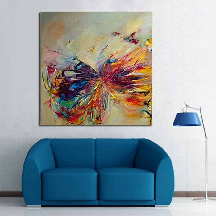 Handmade Modern Abstract Decorative Butterfly Picture Oil Painting On Canvas Wall Art For Living Room As Unique Gift Animals(China (Mainland))