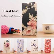Luxury Bling Floral Rhinestone Painted 3D Relief sFor Samsung Galaxy A5 Case For Samsung Galaxy A5 A5000 Flower Phone Case Cover