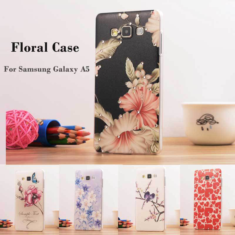 Luxury Bling Floral Rhinestone Painted 3D Relief sFor Samsung Galaxy A5 Case For Samsung Galaxy A5 A5000 Flower Phone Case Cover(China (Mainland))
