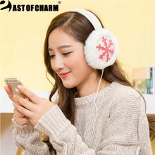 Plush Female Winter Earmuff Warm Ear Muffs Headphones Grils Earmuffs Music Earphones Ear Warmers Ear Protector Fur Headphones(China (Mainland))