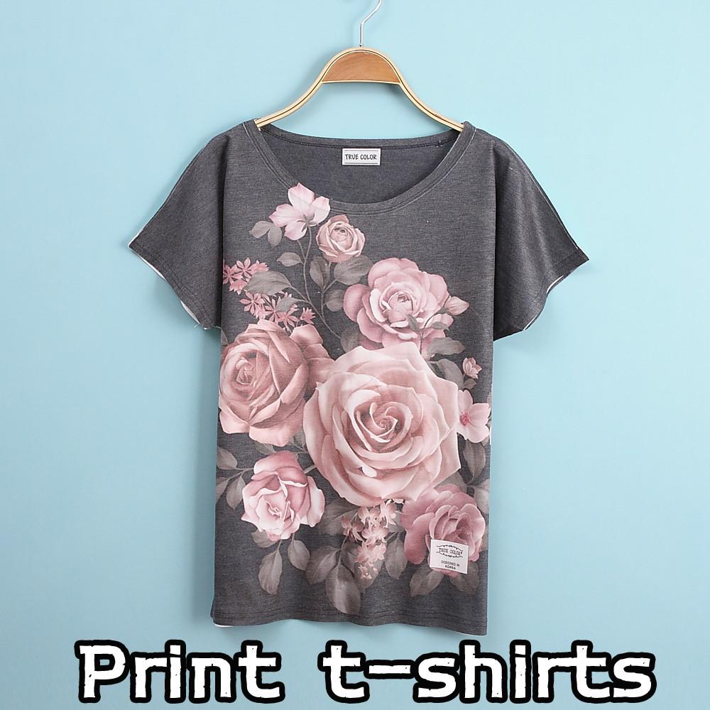 New printing t shirts rose short sleeves women 39 s t shirt for T shirt design sleeve print