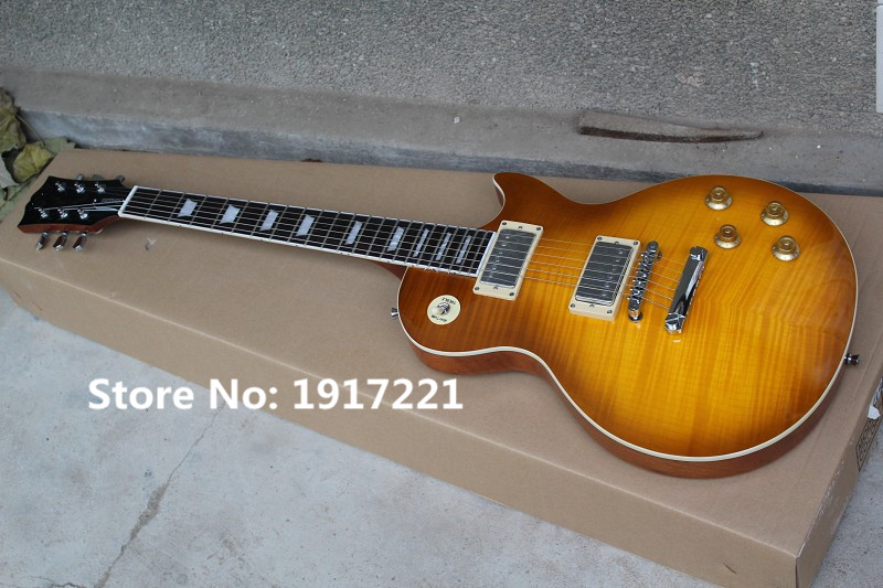 The Factory Customzied LP Electric Guitar with Flame Maple Veneer and Flowerpot Shaped Fret Marks Inlay(China (Mainland))