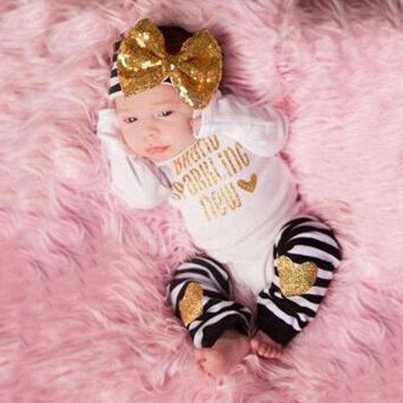 2016 Spring Cute Baby Clothes Sets Toddler Infant Girls Long Sleeve Romper + Bow Headband + Knee Warmer pad Baby Outfits Vestido(China (Mainland))