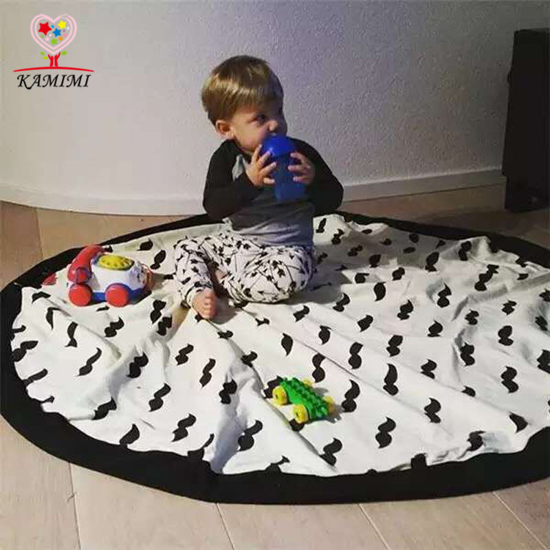 Kamimi 2016 New Baby Toys Games blanket Storage Catton Canvas Bags Kids Blankets Beard Soccer printed Cute Outdoor Carpet A3444(China (Mainland))