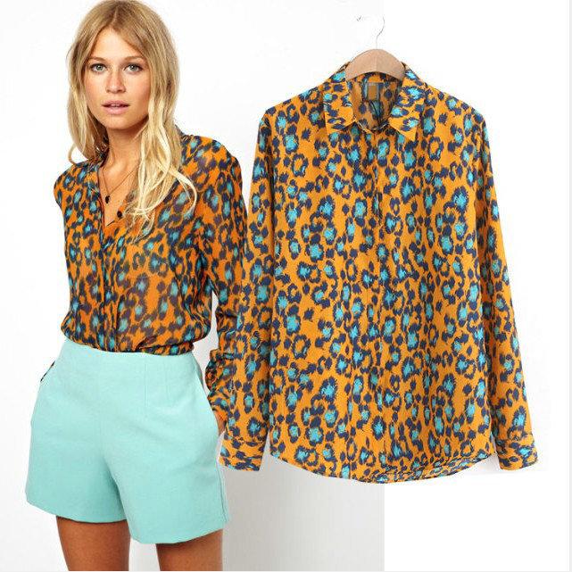 Top Fashion Women Elegant Leopard print blouse shirt long sleeve Chiffon brand tops blusas femininas women's clothing hot sale(China (Mainland))