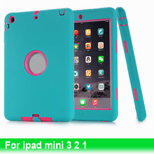 2015 Newest Fashion 3 in 1 Hybrid Plastic Silicone Anti Shock Dual Candy Color Back Cover Case For Apple ipad mini 3 2 1 Tablet(China (Mainland))