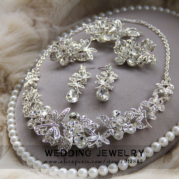 Free Shipping 2014 New Arrival Luxury Sparkling Nice Full Rhinestone Wedding Bridal Prom Party Costum Jewelry Set
