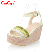 Free shipping NEW high heel wedge sandals platform fashion women dress sexy slippers shoes pumps footwear P5860 EUR size 31-48(China (Mainland))