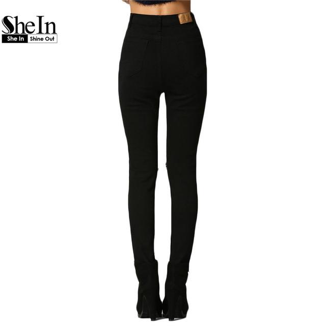 Shein 2016 весна женщины длинные брюки узкие штаны европейский стиль среднего кнопку ...
