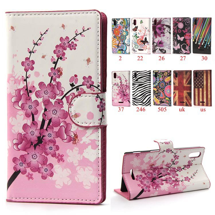Pink Plum Colors Painting Wallet With stand Card Slot Flip PU Leather Mobile Phone Bags & Cases For Sony Xperia T3 D5103 D5106(China (Mainland))