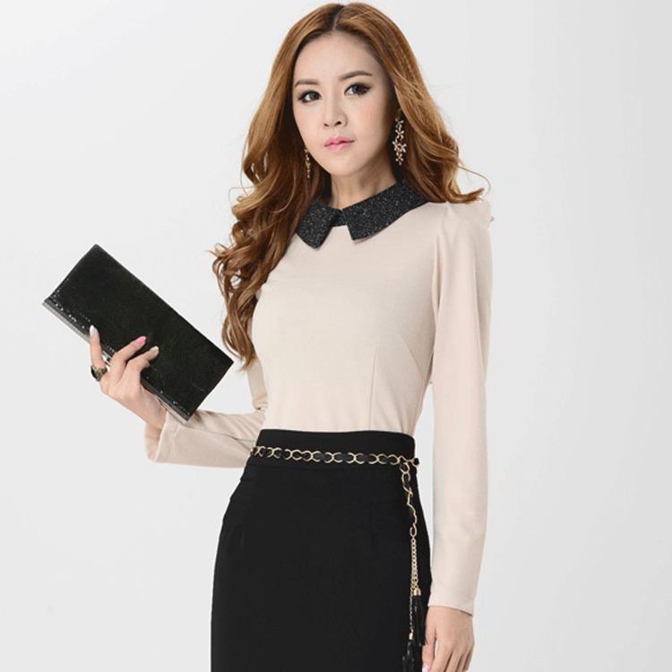2016 Autumn New Fashion Turn Down Collar Work Shirt Slim thin solid bottoming shirt FM8028(China (Mainland))
