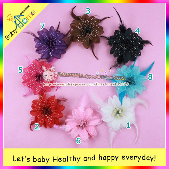 MAGNIFLCENT hairy style baby girls' clip, popular feather and multicolor boutigue baby hair item, NOBLE.