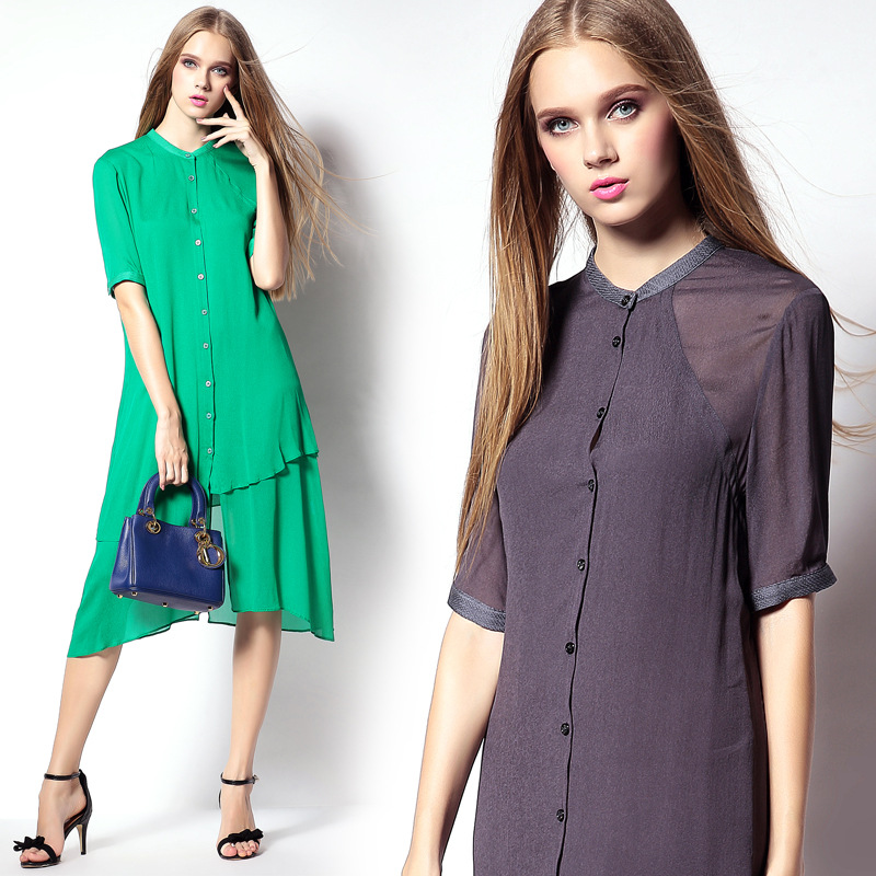 Shirt Dresses Green / Dark gray 2015 Summer Boutique Women's Clothing Europe And America Slim Single-breasted Solid Color Dress(China (Mainland))