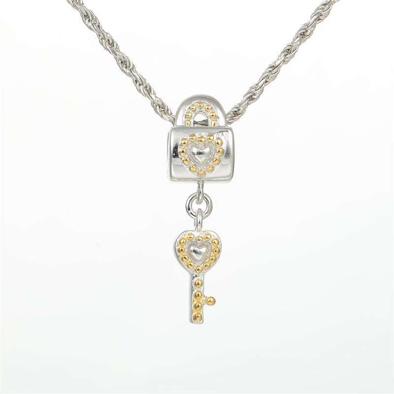 925 sterling silver lock key charms fits pandora charms