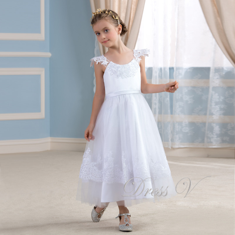 Cute white lace applique flower girl dresses ivory holy for Cute white dresses for wedding