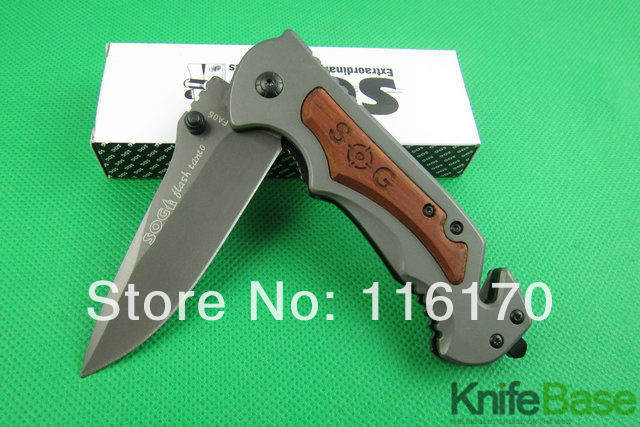 New 2014 SOG FA05 quick folding knife 5Cr13 56hrc steel head + wood handle Tactical knives hunting camping tools 5pcs/lot(China (Mainland))