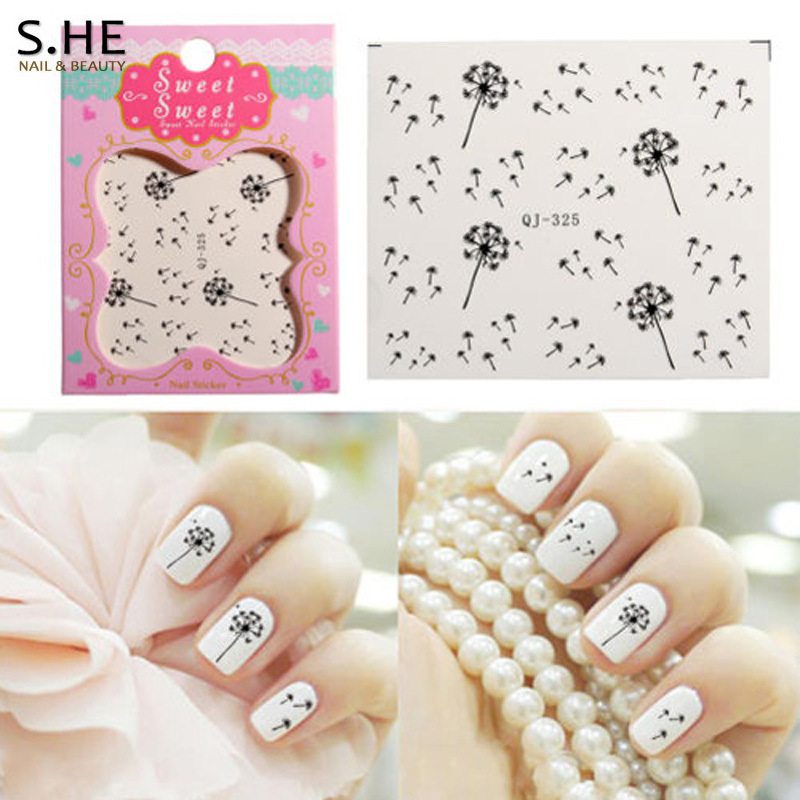 Fashion 2 Sheet Dandelion Nail Sticker Nail Art Stickers Water Decals Wraps Manicure Tools French Tips Free Shipping(China (Mainland))