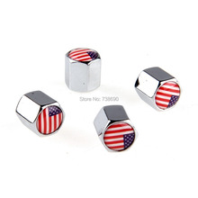4 Pieces Stainless Steel Auto Truck Car Wheel Tire Valves America Flag Tyre Stem Air Caps Airtight Cover Universal Silver White(China (Mainland))