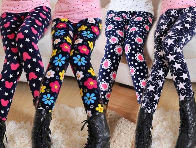 Девушка меха леггинсы брюки печать мода детей дети девушки брюки