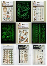 2015 Summer Temporary Gold Silver Metallic Luminous Flash Tattoo Stickers Set 6 pieces Necklaces Bracelet Body Art Accessory(China (Mainland))
