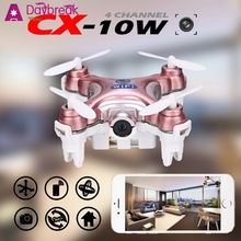 2016 Fashion Mini CX-10W 2.4Ghz 6-Axis Gyro RC Quadcopter With 0.3MP HD Camera Wifi Drone APP Controller