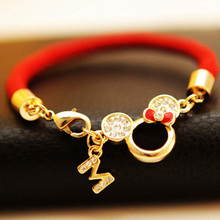 Free shipping 2014 fashion Pierced Mickey head red string lovers natal lucky red string bracelet accessories hollow Bracelet