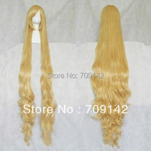 queen brazilian womens made Kanekalon wigs  Blonde Stylish Curly Hair Long Cosplay Wavy Wig 150cm <br><br>Aliexpress