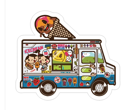 Minimum order $8Hand color cartoon. Ice cream truck waterproof stickers. Personality notebook sticker/single(China (Mainland))