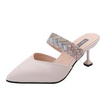 Lüks ayakkabı kadın sandalet sivri yılan tek ayakkabı rahat Stiletto terlik bayanlar ayakkabı haut talon femme bleu # newg25(China)