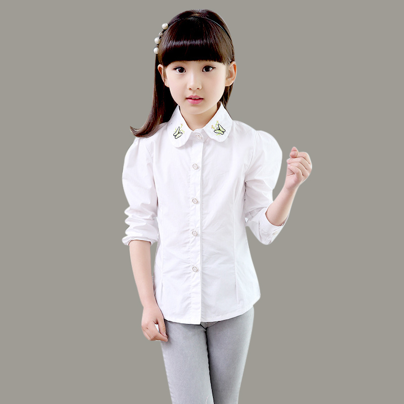 Kindstraum 2016 Children Cotton Blouses Spring & Autumn Kids Butterfully Shirts Fashion White Shirts for Girls,RC687(China (Mainland))