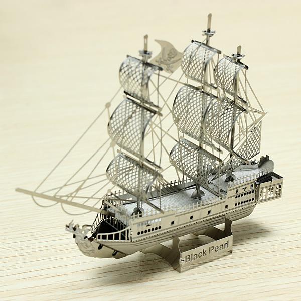 1pc Metal Works DIY 3D Laser Models/Assemble Miniature Metal 3D Model Metallic Puzzle-Black Pearl Pirate Ship(China (Mainland))