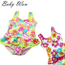 New Fashion Summer Cute Floral Pattern Girls Swimsuit European Children Spa Swimwear Fresh Kid Bathing Suit Beach Wear JH-151257