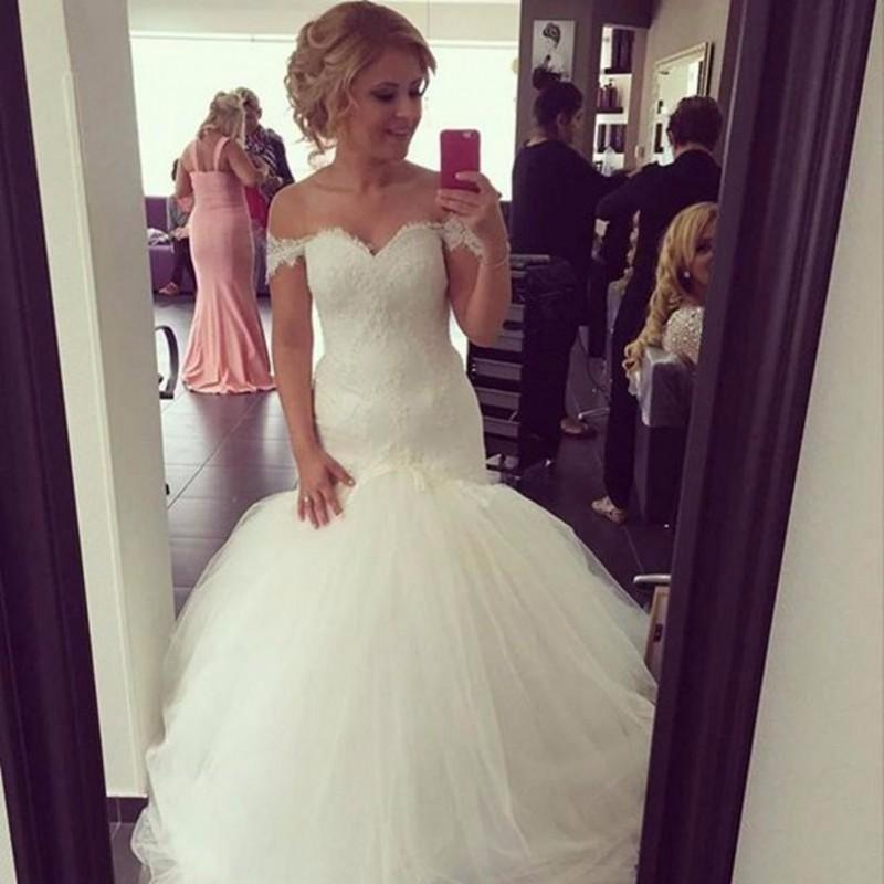 Mermaid Wedding Dresses With Train : Mermaid wedding dresses off shoulder organza long train lace