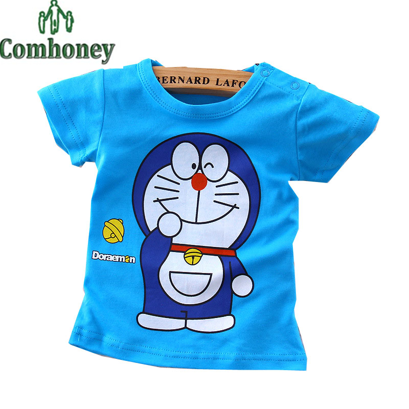 Doraemon T Shirt Infant Print T-shirts for Girls Boys Bebe Toddler Cheap Tees Tops Summer Cute Minnie Baby Kid Designer Clothing(China (Mainland))