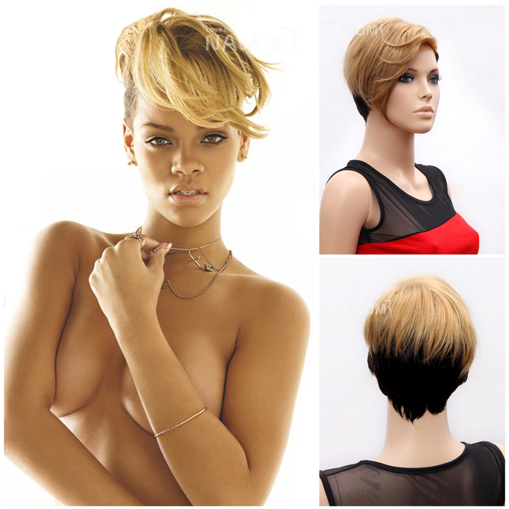 2015 100% Kanekalon female full wigs/rihanna short golden wigs/women synthetic hair wigs sale - Nawomi Wigs store