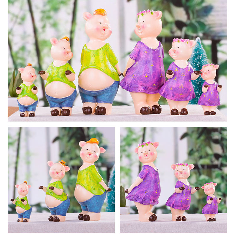 New Cute Pig a Family of Three Wedding Room Decorations Home Accessories Decoration Modern Creative Ornaments Gift P40(China (Mainland))