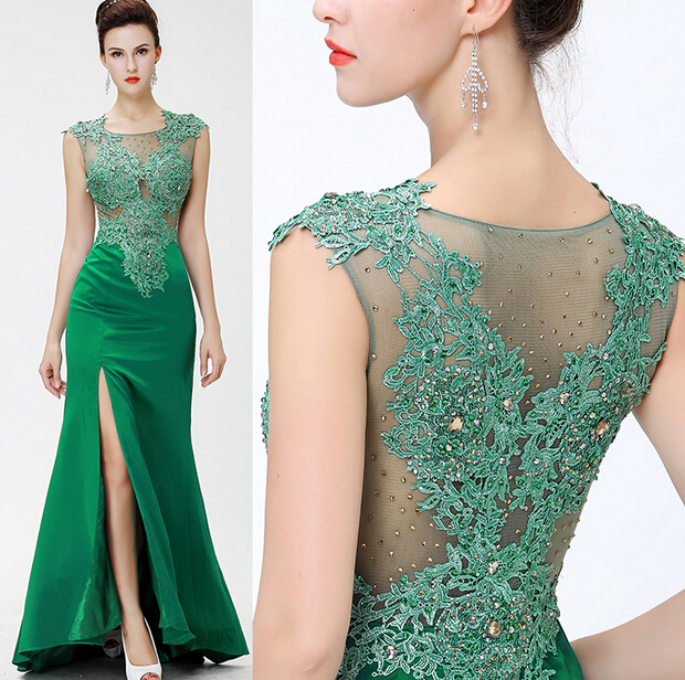 Long evening dress 2015 Luxury Floor-length Elegant A-line Fron Slit Party Dress Prom Gown robe de soiree(China (Mainland))
