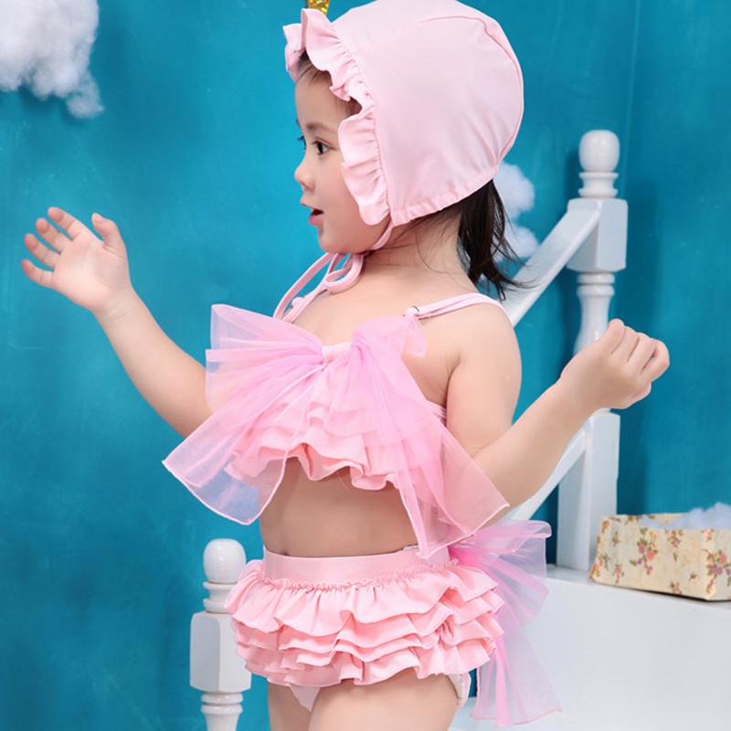 New Fashion Korean Lace Baby Girl Swimwears Toddler Swim Suit +Cap Princess Infant Baby Swimwear Bikini Two Piece Beachwear(China (Mainland))