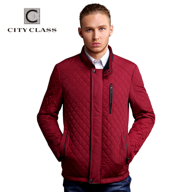 CITY CLASS новый мужчины бизнес отдых приталенный стойка воротник мода синтепон стёганные ...