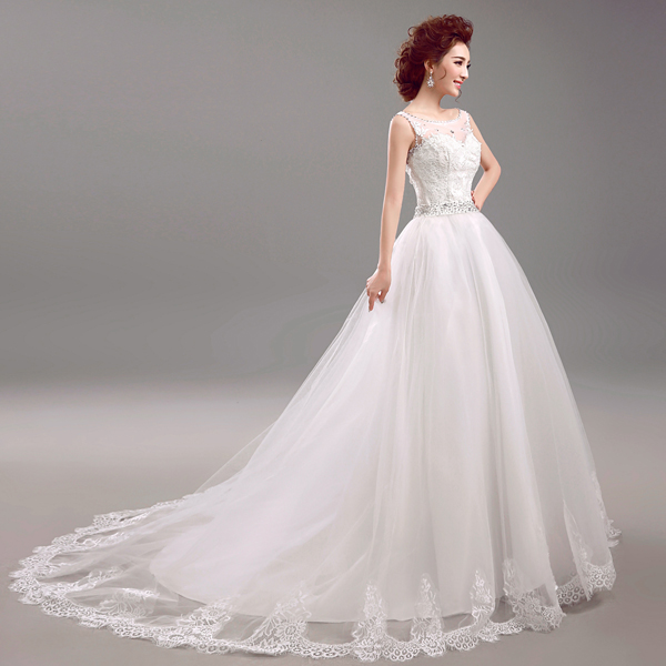 New style 2016 elegant white a line shoulders lace crystal wedding dresses court train bridal ball gown plus size,493ty10057,xw(China (Mainland))