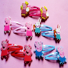 10pcs/Lot Girl Peppa Pig Headwear Hair Claw Female Kids Cute Hair Accessory Hair Clips Pink Pig Kawaii Hairpin Hairclip Barrette