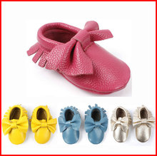 2015 New bows Baby moccasins soft sole genuine leather prewalker booties toddlers/infants fringe bow cow leather shoes moccasin(China (Mainland))