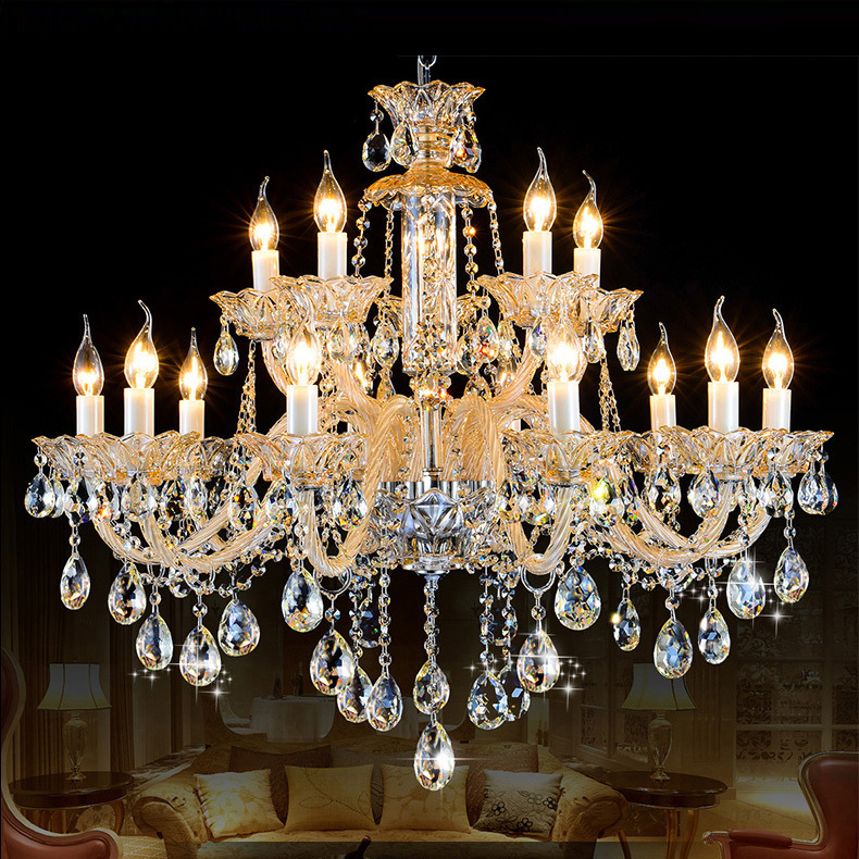Star Hotel Milk White Crystal Chandelier 15 Arms Antique